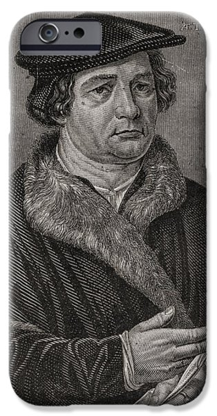 Religious Drawings iPhone Cases - Martin Luther,1483-1546. German iPhone Case by Ken Welsh