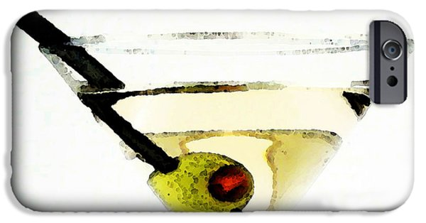 Booze iPhone Cases - Martini With Green Olive iPhone Case by Sharon Cummings