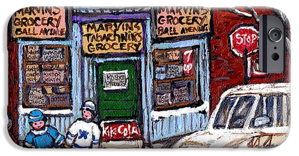 Hockey Paintings iPhone Cases - Marvins And Tabachnicks Grocery With J J Joubert Milk Truck Ball Ave Park Ex Montreal Memories Art iPhone Case by Carole Spandau