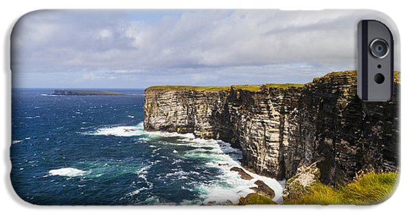The Interests Of Society iPhone Cases - Marwick Head Rspb Nature Reserve iPhone Case by Kav Dadfar