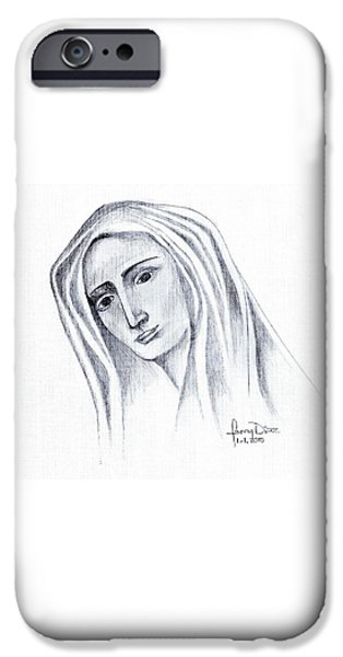 Jesus Drawings iPhone Cases - Mary iPhone Case by Fanny Diaz