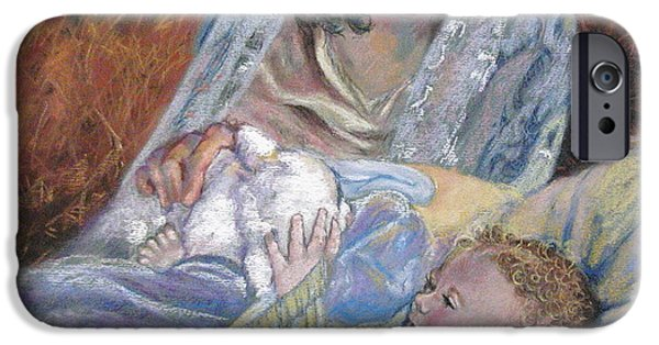 Son Of God Pastels iPhone Cases - Mary Had a LIttle Lamb iPhone Case by Reveille Kennedy