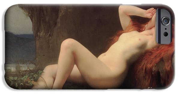 Cavern iPhone Cases - Mary Magdalene in the Cave iPhone Case by Jules Joseph Lefebvre