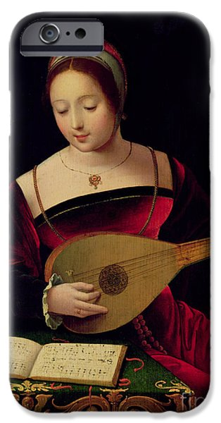 Religious iPhone Cases - Mary Magdalene Playing the Lute iPhone Case by Master of the Female Half Lengths