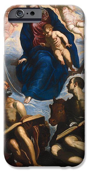 Holy Cow iPhone Cases - Mary with Child - Venerated by St Marc and St Luke iPhone Case by Tintoretto