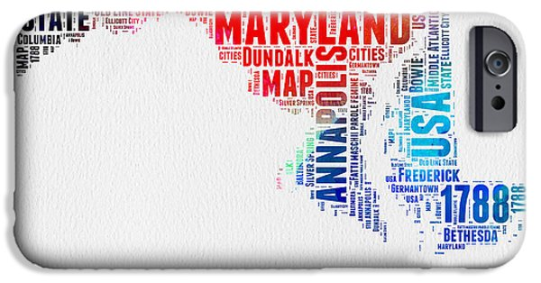 4th July Mixed Media iPhone Cases - Maryland Watercolor Word Cloud  iPhone Case by Naxart Studio