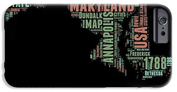 July Mixed Media iPhone Cases - Maryland Word Cloud 1 iPhone Case by Naxart Studio