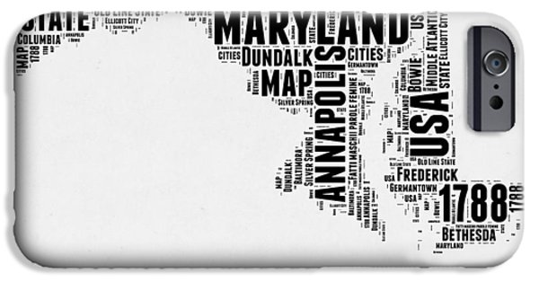 4th July Mixed Media iPhone Cases - Maryland Word Cloud 2 iPhone Case by Naxart Studio