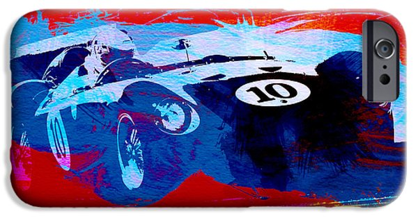 Old Car iPhone Cases - Maserati on the Race Track 1 iPhone Case by Naxart Studio