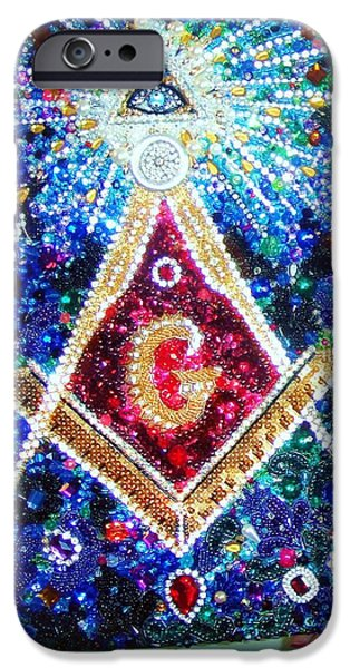 Handcrafted Jewelry iPhone Cases - Masonic symbol beadwork bead embroidery by Sofia Goldberg iPhone Case by Sofia Goldberg