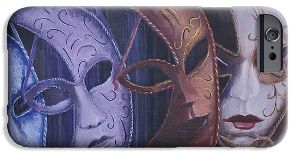 Mardi Gras Paintings iPhone Cases - Masquerade iPhone Case by Michael Beckett