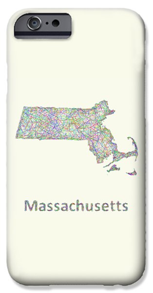 Boston Ma Drawings iPhone Cases - Massachusetts line art map iPhone Case by David Zydd