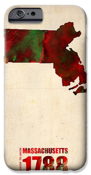 Us States iPhone Cases - Massachusetts Watercolor Map iPhone Case by Naxart Studio