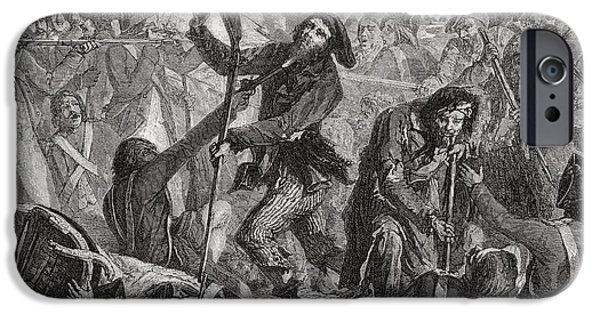 Swiss Drawings iPhone Cases - Massacre Of The Swiss, 10th August iPhone Case by Ken Welsh