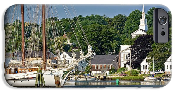 Windjammer iPhone Cases - Masts on the Mystic River iPhone Case by Susan Cole Kelly