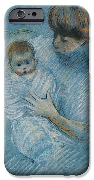 Lady Pastels iPhone Cases - Maternity iPhone Case by Paul Cesar Helleu