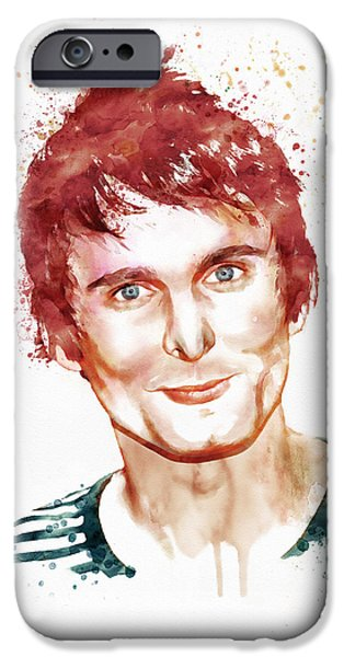 Red Rock Mixed Media iPhone Cases - Matthew Bellamy watercolor iPhone Case by Marian Voicu