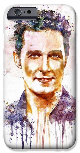 Celebrities Art iPhone Cases - Matthew McConaughey iPhone Case by Marian Voicu