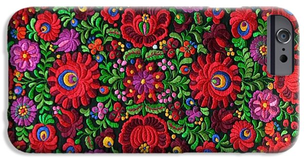 Andrea Lazar iPhone Cases - Matyo Hungarian Magyar Folk Embroidery Detail iPhone Case by  Andrea Lazar