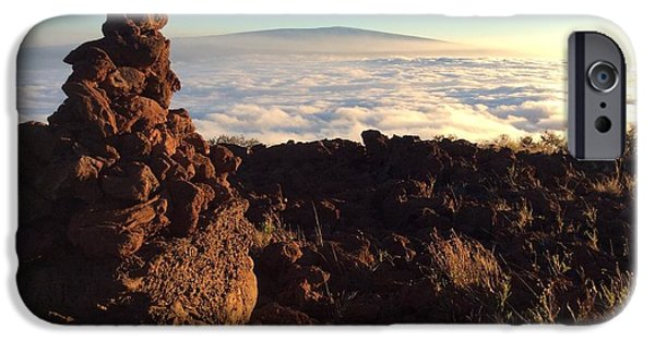 Mounds iPhone Cases - Mauna Loa in the Clouds iPhone Case by Mercedes O