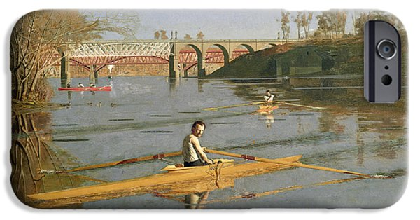 Pastimes iPhone Cases - Max Schmitt in a Single Scull iPhone Case by Thomas Cowperthwait Eakins