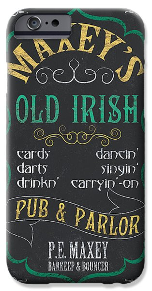Sign iPhone Cases - Maxeys Old Irish Pub iPhone Case by Debbie DeWitt