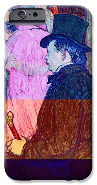 Prostitution Paintings iPhone Cases - Maxime Dethomas on the Opera Ball iPhone Case by Toulouse Lautrec