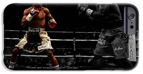 Champ Boxer iPhone Cases - Mayweather and Pacquiao iPhone Case by Brian Reaves