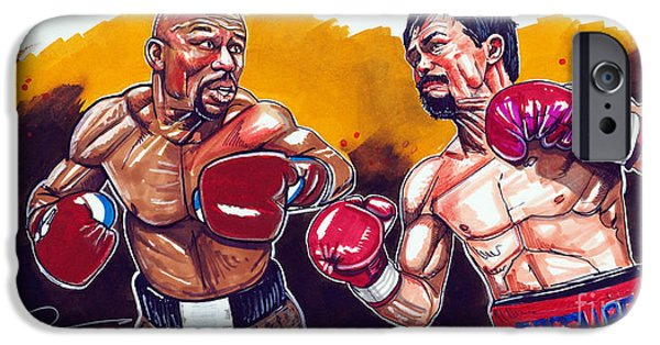Pacman iPhone Cases - Mayweather Pacquiao Fight iPhone Case by Dave Olsen