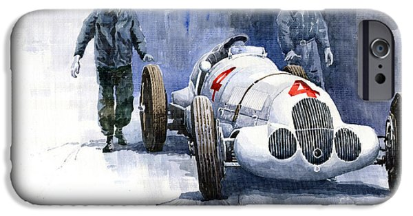 Automotive Paintings iPhone Cases - MB W125 GPcar 1937 iPhone Case by Yuriy  Shevchuk