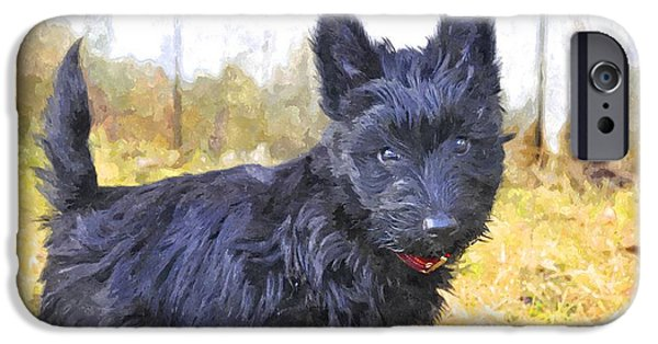 Scottish Terrier Digital Art iPhone Cases - Mbf iPhone Case by Image Takers Photography LLC - Laura Morgan