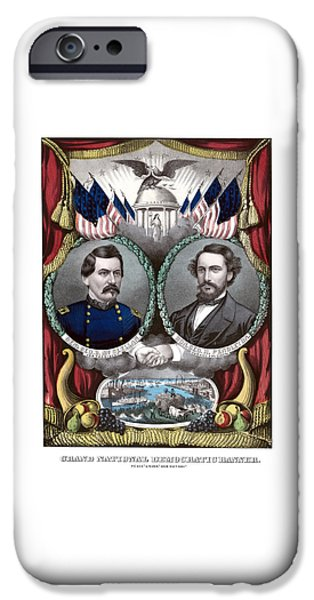 Presidential Elections iPhone Cases - McClellan and Pendleton Campaign Poster iPhone Case by War Is Hell Store