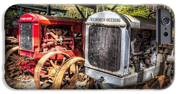 Autumn iPhone Cases - McCormick Deering Tractors II iPhone Case by Debra and Dave Vanderlaan