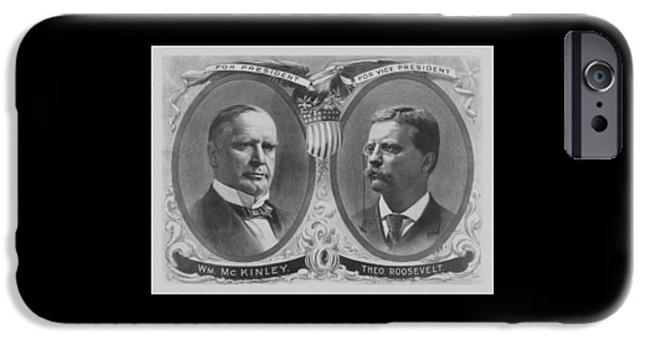 President iPhone Cases - McKinley and Roosevelt Election Poster iPhone Case by War Is Hell Store