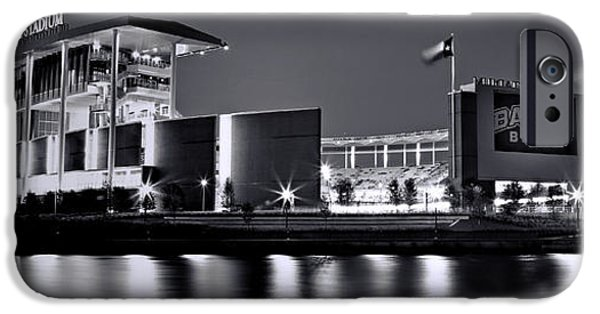 Ems iPhone Cases - McLane Stadium BW Panoramic iPhone Case by Stephen Stookey