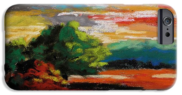 Jmw Pastels iPhone Cases - Meadow at Sunset iPhone Case by John  Williams
