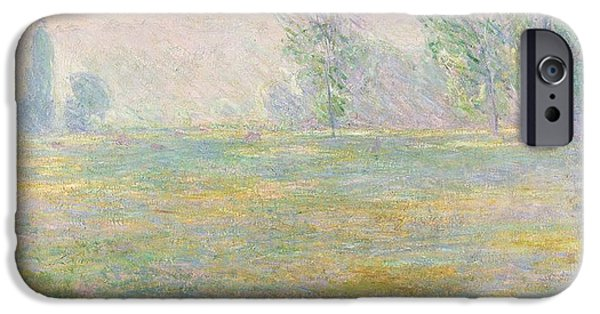 Farm Fields Paintings iPhone Cases - Meadows in Giverny iPhone Case by Claude Monet