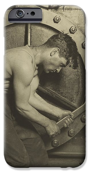 Machinery iPhone Cases - Mechanic and Steam Pump iPhone Case by Lewis Wickes Hine