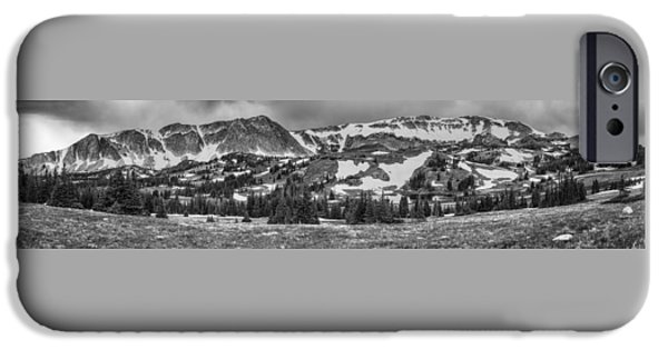 Monotone iPhone Cases - Medicine Bow Mountain Snowy Range Panorama iPhone Case by James BO  Insogna