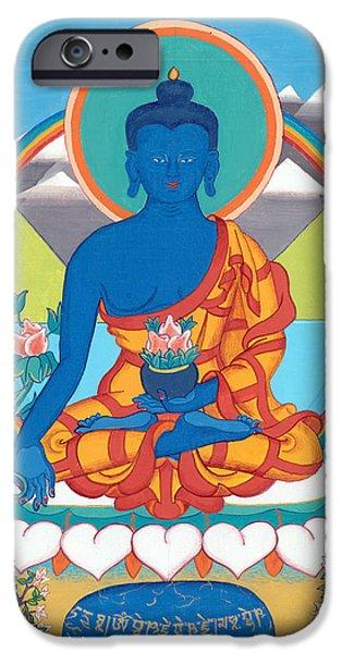 Tibetan Buddhism iPhone Cases - Medicine Buddha or Bhaishajyaguru iPhone Case by Berty Sieverding