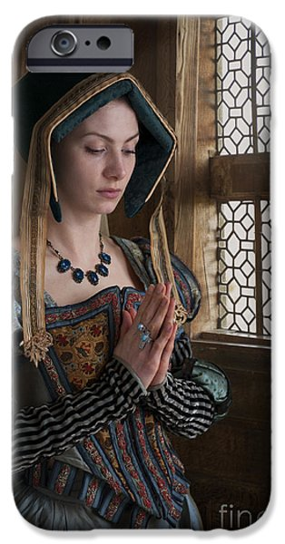Duchess iPhone Cases - Medieval Tudor Woman At Prayer iPhone Case by Lee Avison