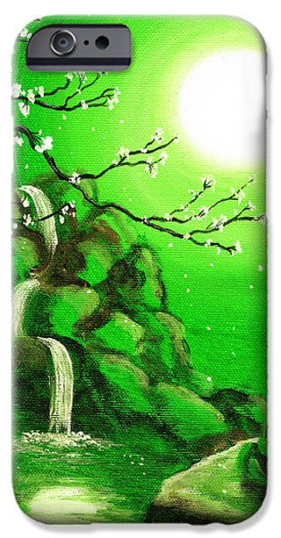 Buddhist Paintings iPhone Cases - Meditating while Cherry Blossoms Fall in Green iPhone Case by Laura Iverson