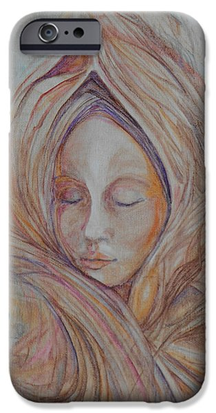 Innocence Mixed Media iPhone Cases - Meditation iPhone Case by Caroline Czelatko