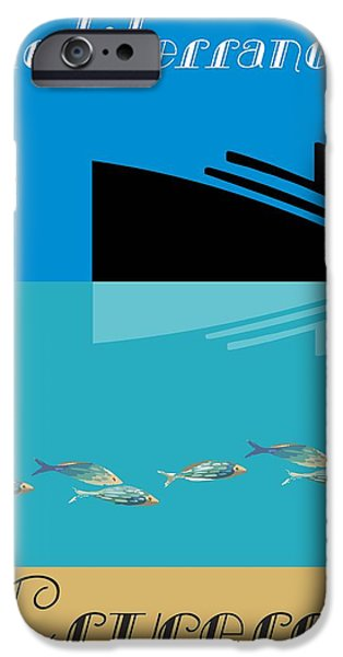 Abstract Digital Drawings iPhone Cases - Mediterranean By Quim Abella iPhone Case by Joaquin Abella