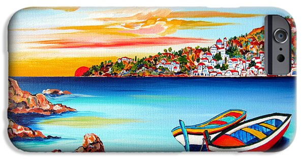 Village By The Sea iPhone Cases - Mediterranean Sunset with boats iPhone Case by Roberto Gagliardi