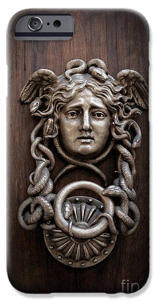 Medusa iPhone Cases - Medusa Head Door Knocker iPhone Case by Edward Fielding