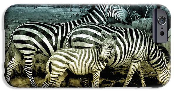Zebra Digital Art iPhone Cases - Meet the Zebras iPhone Case by Bill Cannon
