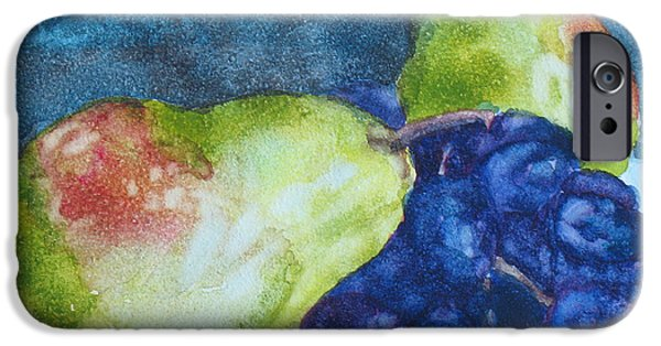 Pears Paintings iPhone Cases - Meeting Over Grapes iPhone Case by Jenny Armitage