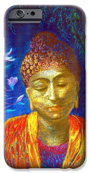 Portrait Paintings iPhone Cases - Meeting with Buddha iPhone Case by Jane Small