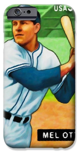 Baseball Uniform Paintings iPhone Cases - Mel Ott iPhone Case by Lanjee Chee